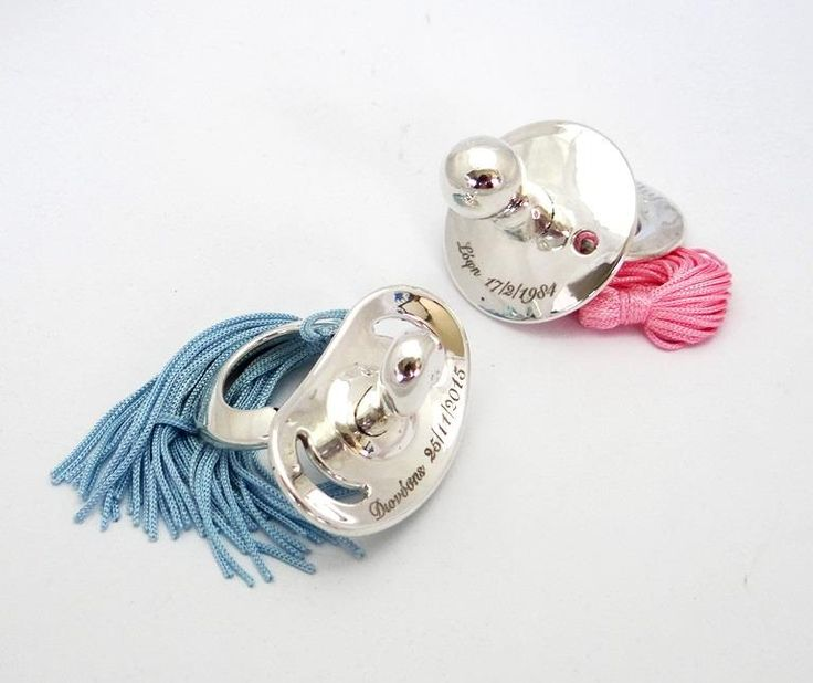 ''Mom&Son''!!! An idea that touched us very much, is coating with silver these two baby dummies (pacifiers) and engrave names and dates of birth.