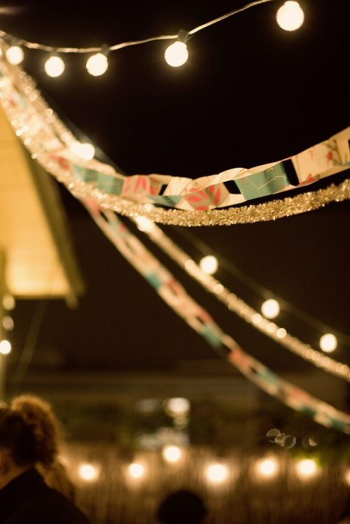 Lights and floral paperchains.
