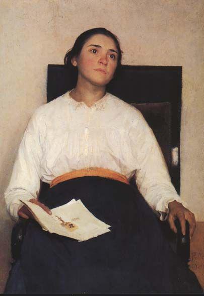 Pellizza da Volpedo, RICORDO DI UN DOLORE, 1889, olio su tela, cm. 107x79, Bergamo, Accademia Carrara