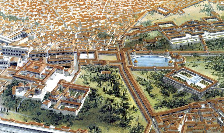 La Domus Aurea  El gran palacio de Nerón, con sus ochenta hectáreas, comprendía jardines, fuentes, pabellones y un lago, además de trescientas habitaciones decoradas con gran lujo.