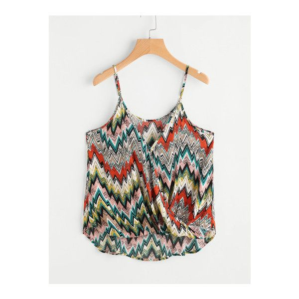 SheIn(sheinside) Aztec Print Surplice Cami Top ($10) ❤ liked on Polyvore featuring tops, multi color, cami top, sexy tank tops, v neck tank, sexy tops and v-neck camisoles