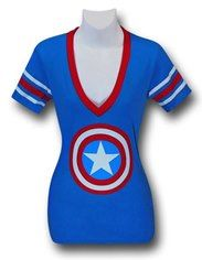 Captain America Athletic Women's V-Neck T-Shirt - Perfect for RunDisney Avengers Run