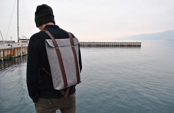 WaterProof Hipster Rucksack | Canvas and Leather Backpack | Big Knapsack for men and women