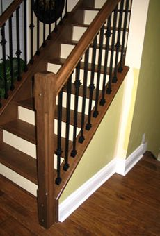 Maple Newel Posts And Handrail Black Metal Spindles