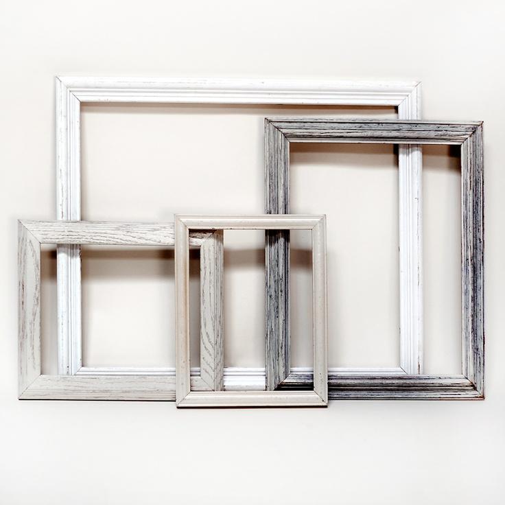 white frames (set of 4) Frame sizes large distressed