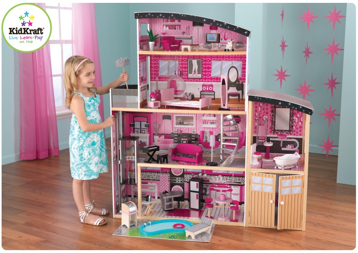 The Kidkraft Sparkle Mansion Wooden Dollhouse Has 4 Levels, Swimming Pool,  An Elevator, And 30 Furniture Pcs And Accessories. The Kidkraft Sparkle  Mansion ...