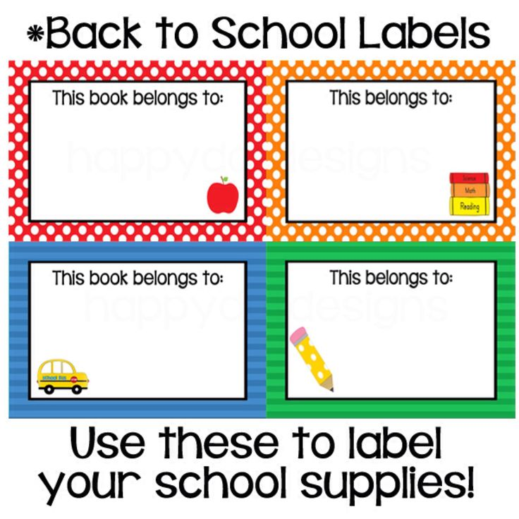 Printable classroom back to school labels bus apple and for Room labels