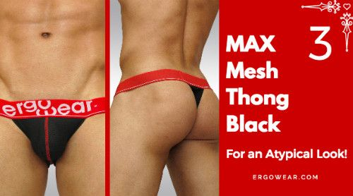 MAX MESH THONG BLACK.