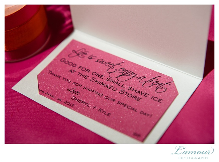 ... favors. Photo by Lamour Photography. Weddings by Grace and Mona