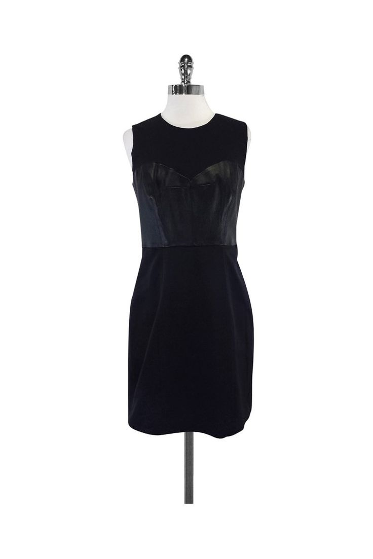 Milly- Black Sleeveless Leather Bustier Dress Sz 8   Current Boutique