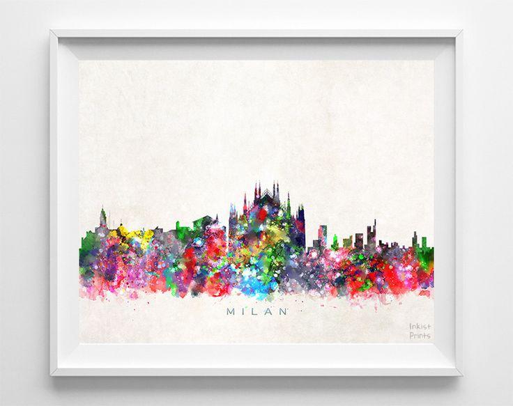 Milan Skyline Watercolor Print