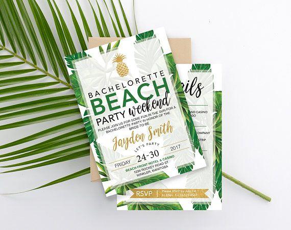 Pineapple Beach Bachelorette Invitation Tropical Leaves | Bachelorette Party | Beach party | Tropical Party | Tropical Invitation