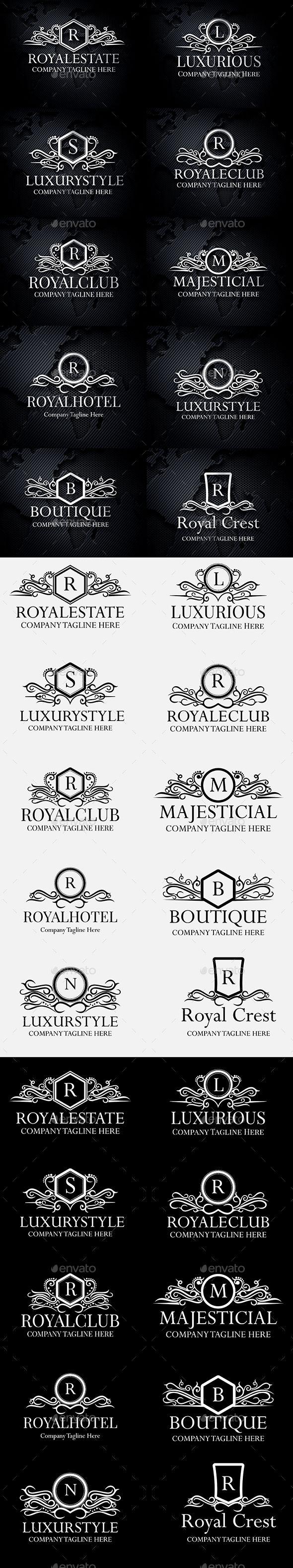 Heraldic Royal Luxurious Crest Logos Template Vector EPS, AI Illustrator