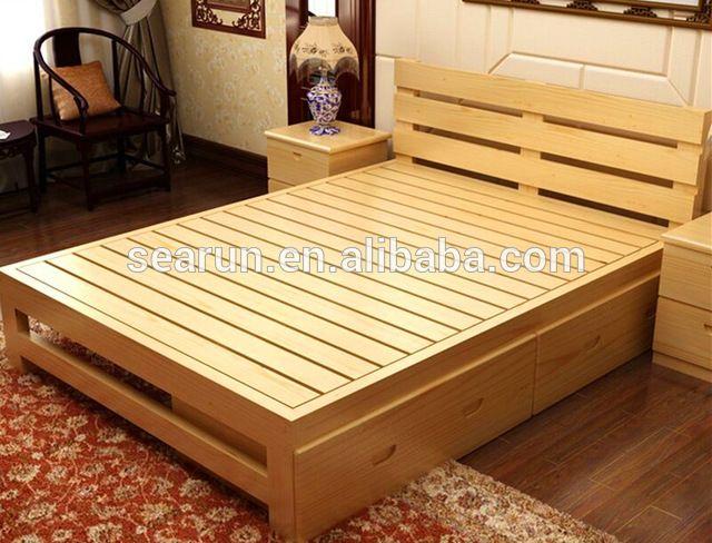 Massief houten tweepersoonsbed met doos, teakhout modern bed ontwerpen-inbedden van slaapkamer meubilair op m.dutch.alibaba.com.