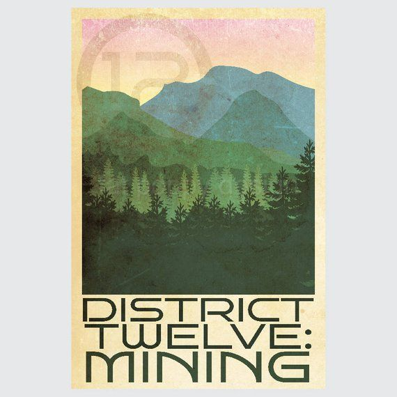 Hunger Games Retro Travel Poster Print District Twelve Mining 8x12 12x18 Vintage Style 10 Of S Retro Travel Poster Travel Posters Poster Prints