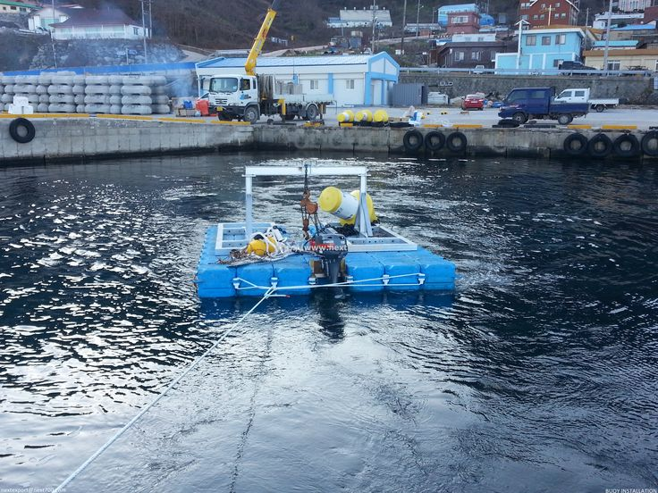 Floating working barge platform with nextfloat (nextpontoon). This made specially to install BUOY installation.