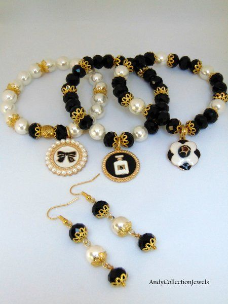 Divine Black and White Women's Set Wristbands and Dangling Earrings with Crystals, Mother of Pearls Stones and Designer Inspired Charms