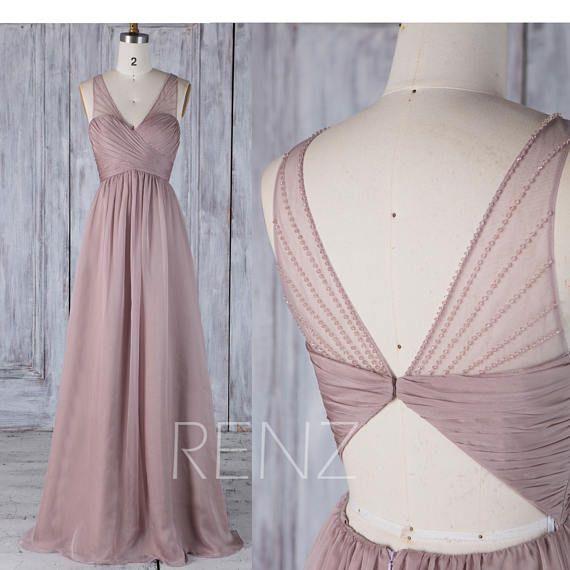 2017 Rose Gray Chiffon Bridesmaid Dress with Bead Ruched