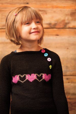 Heartgyle Pullover - from Interweave Knits Holiday Gifts 2013. So cute, and I love the buttons!