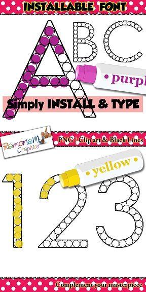 50% off till October 23rd!! Dot marker font (installable) dot a dot letters, alphabet, numbers. Teacher font