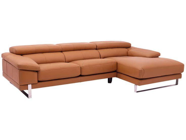 Canapé d'angle droit 4 places ROMA coloris terracota prix promo Canapé cuir Conforama 1 999.00 € TTC au lieu de 2 497 €