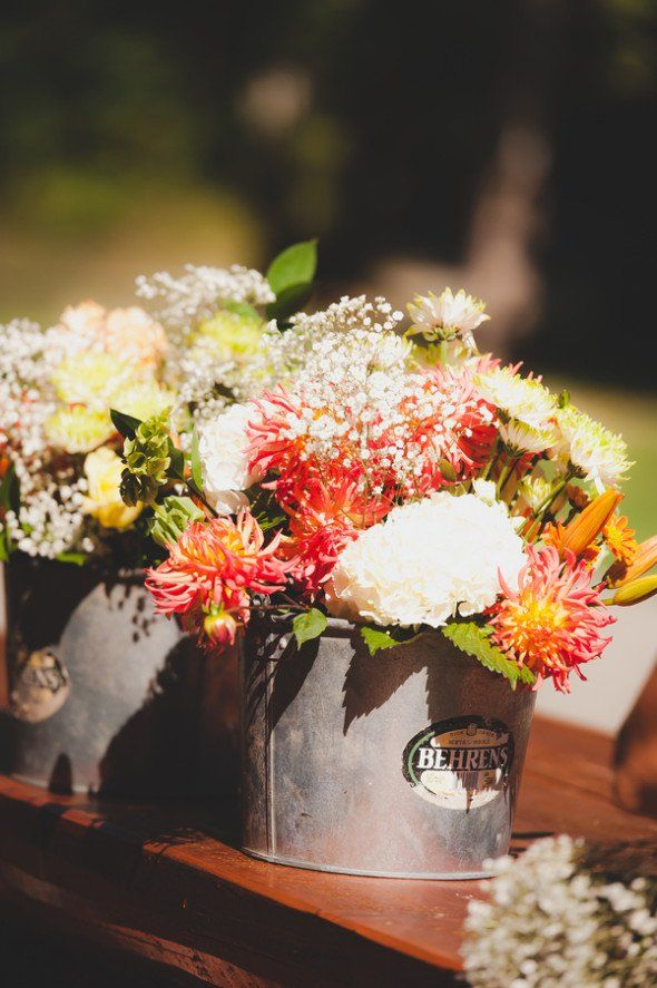 Rustic wedding at a cabin centerpieces