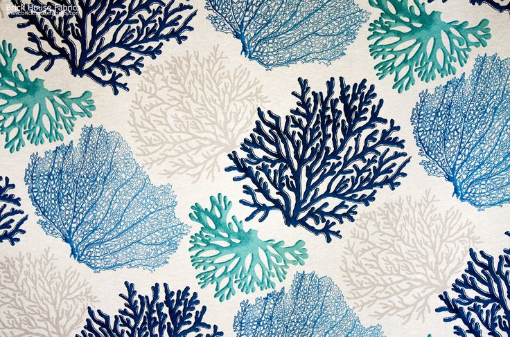 A coral fabric with blue and aqua coral trees. An interesting ocean coral fabric for those who want something a bit different. #coastal