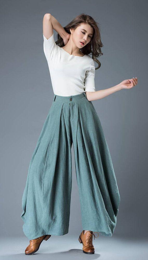 Vert coupe ample pantalons lin pantalon C835 pantalon par YL1dress