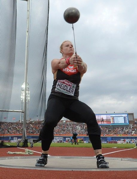Silver medal Germany's Betty Heidler competes the Women's Hammer Throw final during the European Athletics Championships at the Olympic Stadium in Amsterdam, on July 8, 2016. / AFP / JEAN-SEBASTIEN EVRARD