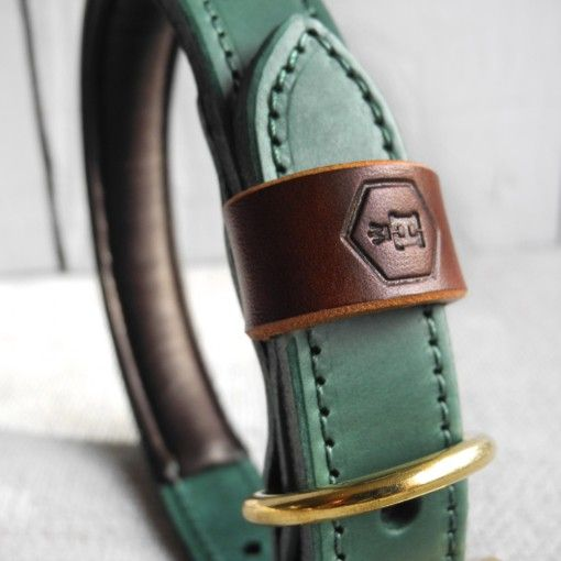 Monogram Two Tone Luxury Padded Leather Dog Collar Green | HOUNDWORTHY