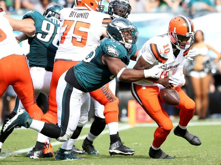 Eagles DE Brandon Graham (55) forces Browns QB Robert Griffin III (10) to fumble the ball during the fourth quarter of the game at Lincoln Financial Field in Philadelphia, Sunday, Sept. 11, 2016. (Lori M. Nichols | For NJ.com)