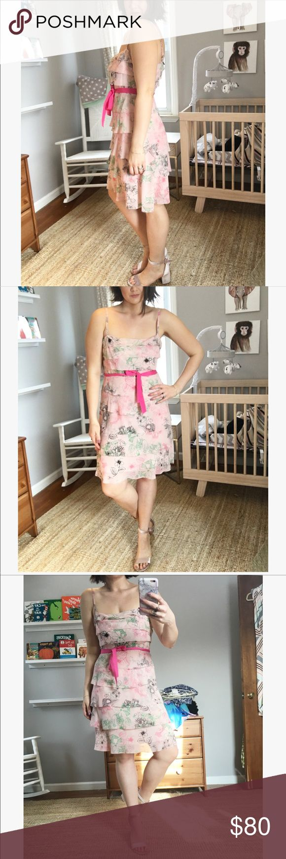 BCBG Maxazria ruffled tiered 100% silk pink dress Absolutely beautiful 100% silk light pink dress from BCBG Maxazria. This dress is so light and elegant! Would be perfect for a wedding shower, wedding, Easter, or any spring event. BCBGMaxAzria Dresses Wedding