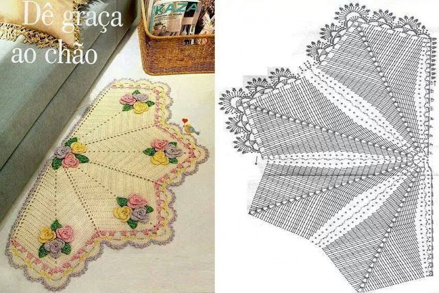 Crochê Gráfico: Tapete com flores em crochê