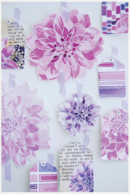 Beautiful Watercolor dahlia Tags (Tutorial)
