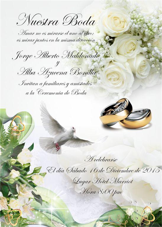 Espaciohonduras dise os de tarjetas de invitaci n para - Tarjeta de boda ...
