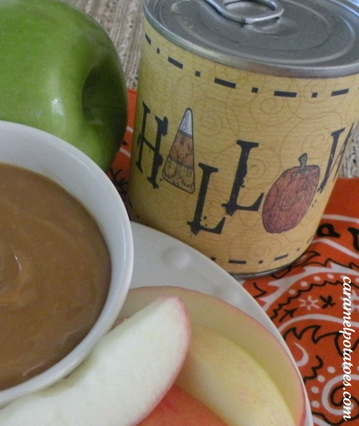 Caramel Dip cooked in the Can with Cute Printable Halloween and Fall Labels - Perfect for gift giving