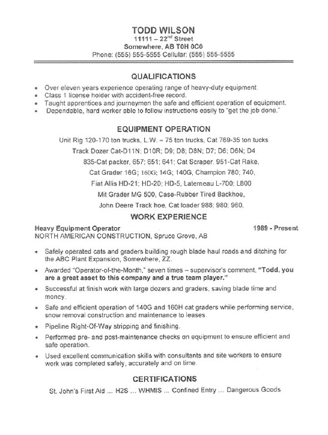 resumes for excavators