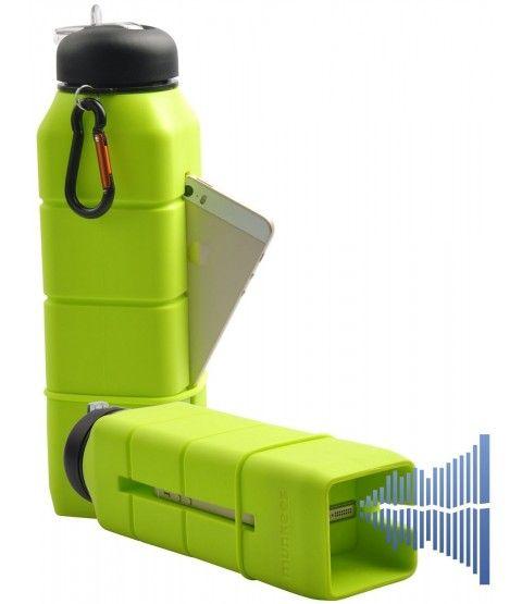 Munkees Sound Bottle Hell Grün Sport Silikon Trinkflasche Camping Flasche Schule Handyhalter Lautsprecher Reise  - 2-flowerpower