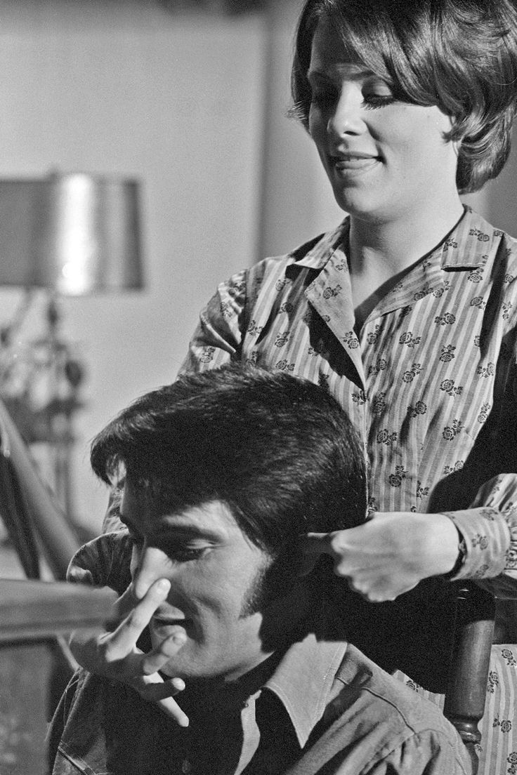 """Jane Elliot, (Tracy, GH) fooling around with Elvis on the set of """"Change of Habit"""" in 1969. She played Sister Barbara Bennett."""