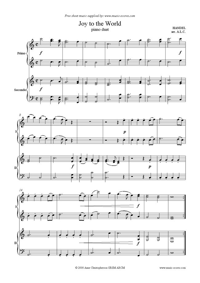 Joy to the World: Piano Duet by Christmas. Free printable!  This site has a few more free downloadable/printable Christmas duets for piano.