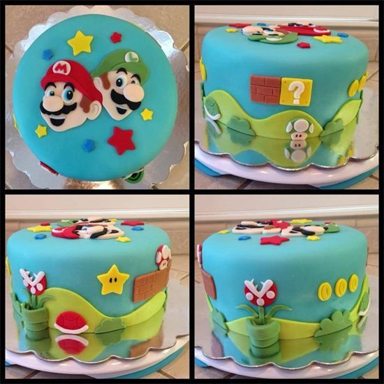 Mario & Luigi cake by www.amberslittlecupcakery.com