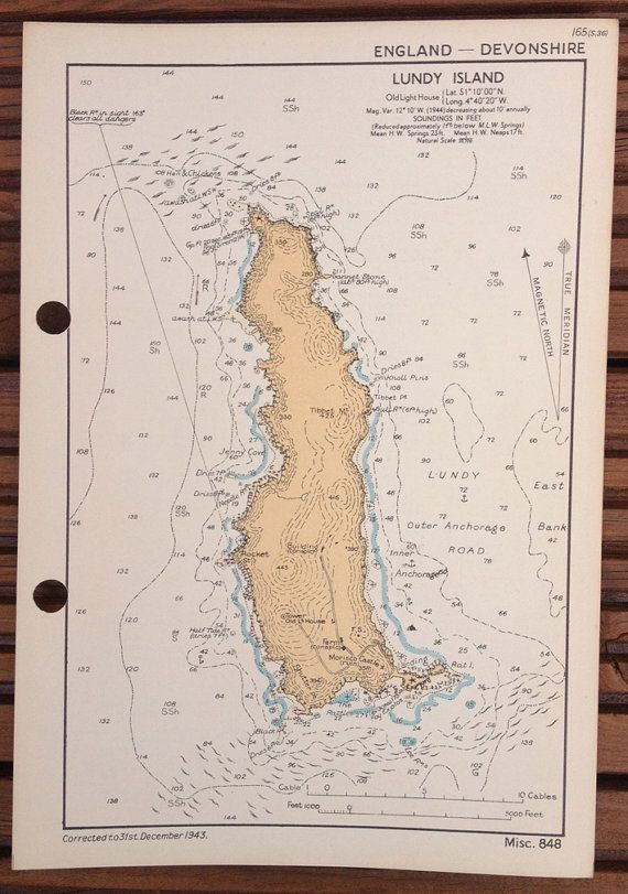 Vintage WW2 Admiralty chart of Lundy Island, Devonshire, England 1943