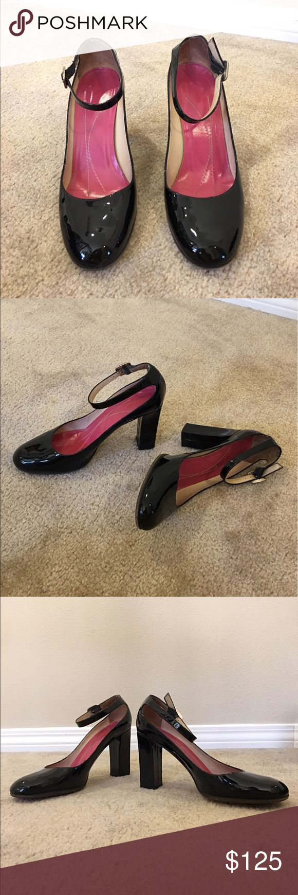 Genuine KATE SPADE patent leather shoes, Italy Genuine KATE SPADE New York patent leather shoes, made in Italy. In gently worn preowned condition with replacement soles and slight nick on back heel (visible in phot).  Marked size 8.5B. All leather (note replacement sole). Silver tone buckle ankle straps. Please ask questions prior to purchase. 🚫trades 🚫lowball offers. kate spade Shoes Heels