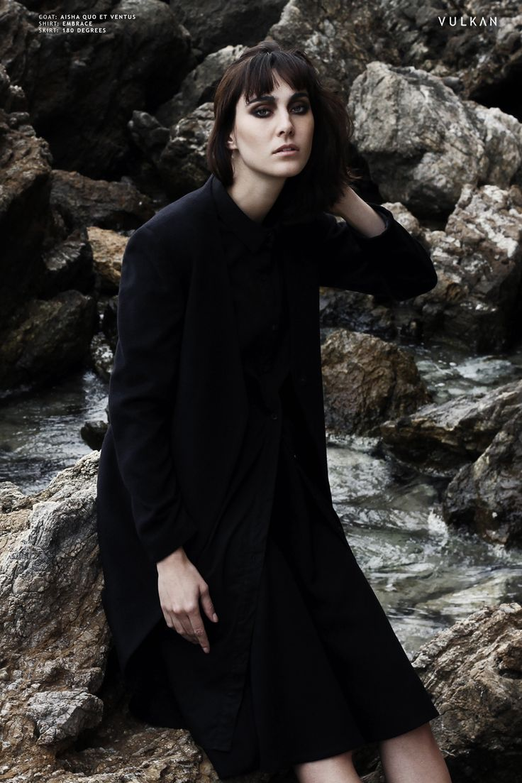 VULKAN MAGAZINE | SENTIMENTS ISOLES Fashion Editorial featuring EMBRACE black shirt dress.