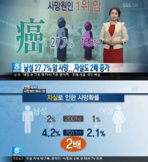 남성 사망원인 1위 '암', 발병률은 위, 폐, 간, 대장암 순 :: 푸른한국닷컴
