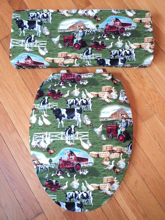 Family Farm Cows Geese Farmall Tractor Red Barn Toilet Seat& Tank Lid Cover Set