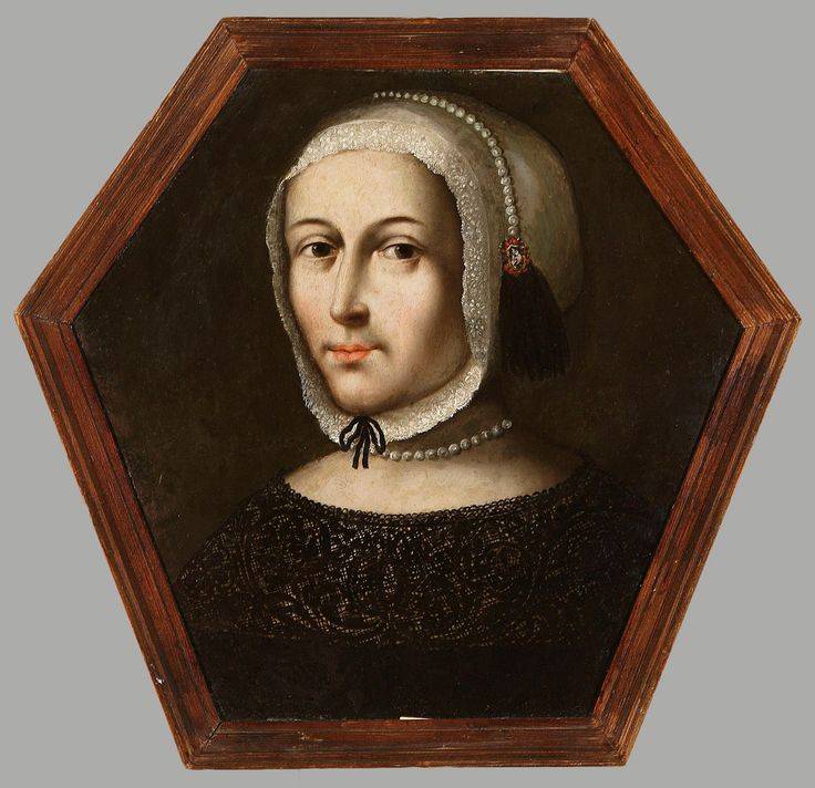 Coffin portrait of an unknown woman in a white bonnet and in a dress with black lace collar by Anonymous from Masovia, 1670s (PD-art/old), Muzeum Narodowe w Warszawie (MNW)