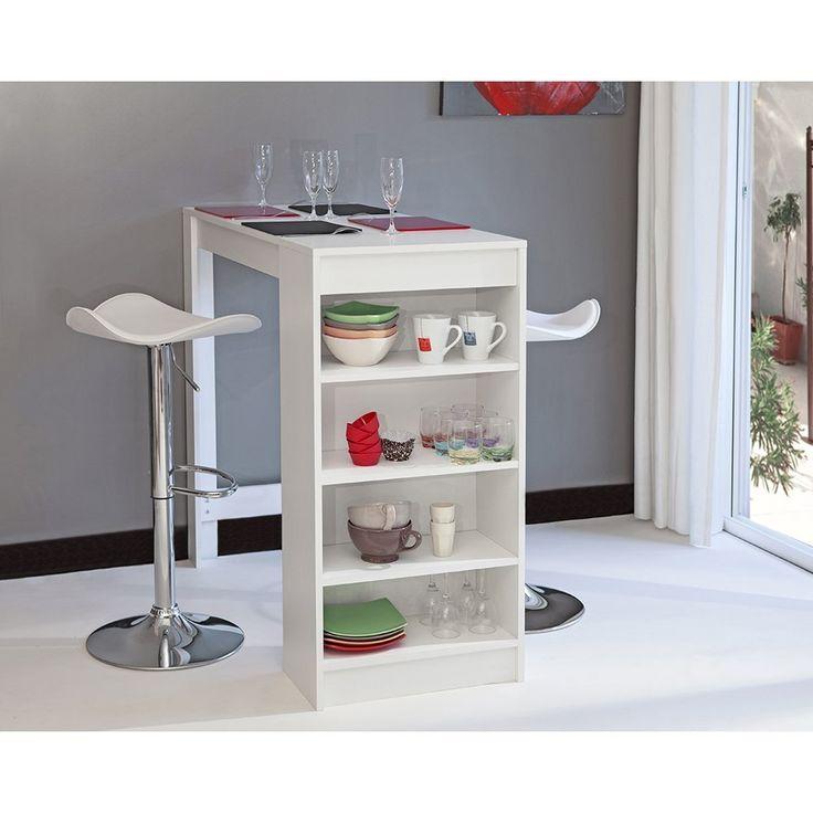 Symbiosis 8080A2100X00 Contemporain Table Bar avec Rangements Blanc 115 x 50 x 102,7 cm: Amazon.fr: Cuisine & Maison