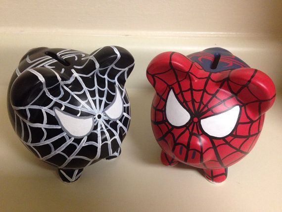 Venom Spider-Man Painted Ceramic Piggy Bank Medium por KaleyCrafts