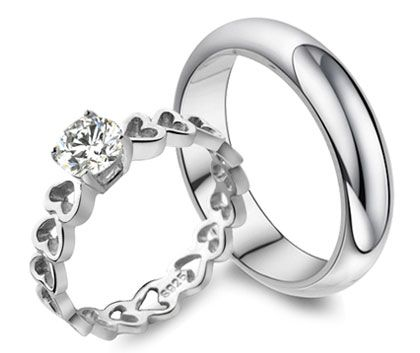 Popular Heart Link Diamond Engagement Ring and Engravable Wedding Band Set for Him and Her HR